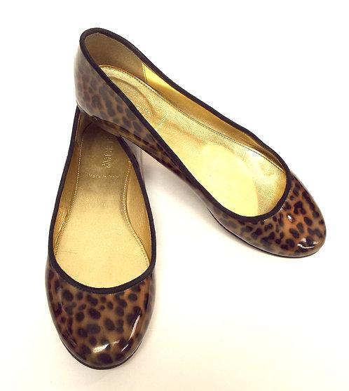 J. CREW Leopard Print Patent Leather Ballet Flat 6
