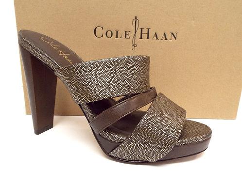 COLE HAAN Gold Strappy Slide Sandal Heel 7.5