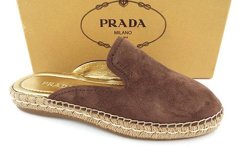PRADA Brown Suede Mule Espadrilles Flats 39.5