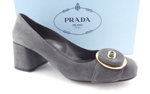 PRADA Logo Detail Button Gray Suede Pumps 36.5