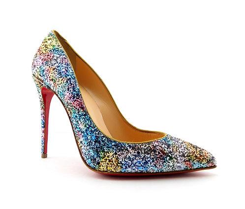 CHRISTIAN LOUBOUTIN Dragon Pigalle Follies Glitter Leather Pumps 37