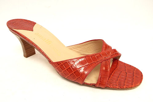 AMALFI Red Alligator Print Leather Slide Heel