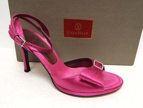 COLE HAAN TILLIE Fuchsia Satin Ankle Strap Sandal