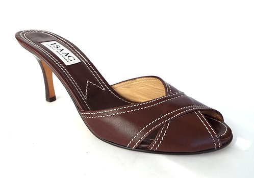 ISAAC MIZRAHI Brown Leather Cross Strap Slide Mule 8.5