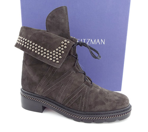STUART WEITZMAN Gray Fold Down Studded Ankle Boots 7