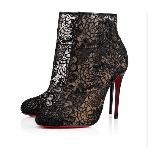 CHRISTIAN LOUBOUTIN Black Miss Tennis Floral Lace Bootie 39.5