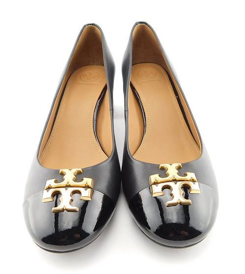 TORY BURCH Everly Logo Black Leather Block Heels 8