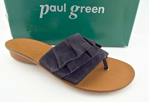 PAUL GREEN Black Ruffle Thong Sandal UK5/US7.5