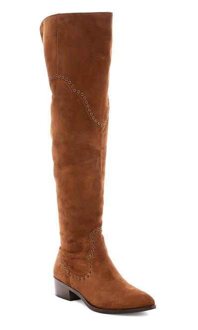 FRYE Grommet Detail Cognac Suede OTK Boots 7