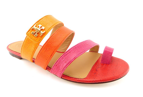 TORY BURCH Logo Color Block Toe Ring Sandals 8