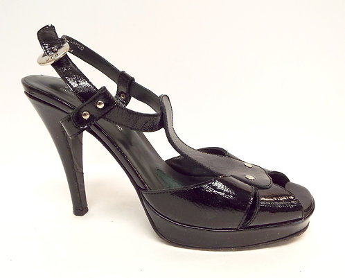 DONALD PLINER CAMEO Black Patent Ankle Strap Sandal 9