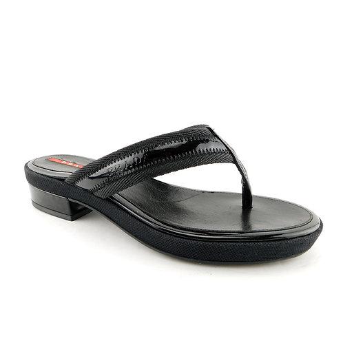 PRADA Size 5.5 Black Logo Thong Sandals Shoes 35.5 Eur w/ Box