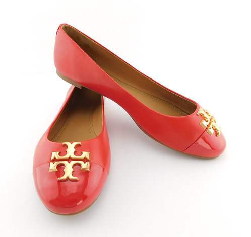 TORY BURCH Everly Logo Brilliant Red Leather Ballet Flats