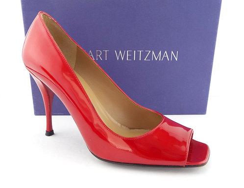 STUART WEITZMAN Quasar Red Open Toe Heel Pumps 8.5