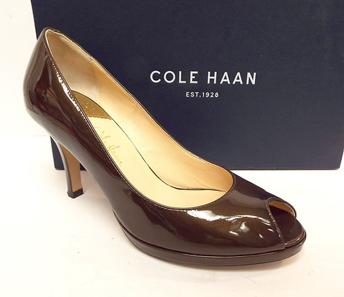 COLE HAAN CARMA Bronze Patent Open Toe Nike Air Pump 8