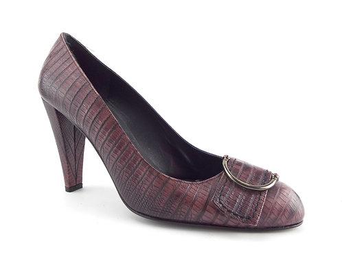 STUART WEITZMAN Purple Lizard Heel Pump 7.5