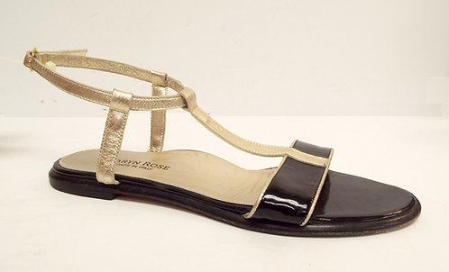 TARYN ROSE Black Gold T-Strap Sandal 39.5 / 9