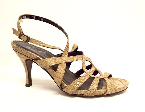 DONALD PLINER ASBY Beige Croc Print Leather Sandal 8