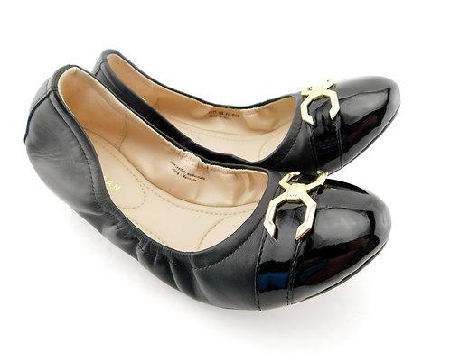 COLE HAAN Terrin C Logo Buckle Black Ballet Flats 7