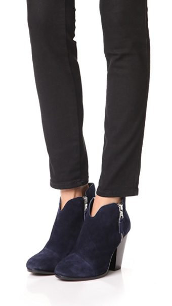 RAG&BONE Navy Suede Zip Block Heel Booties 35