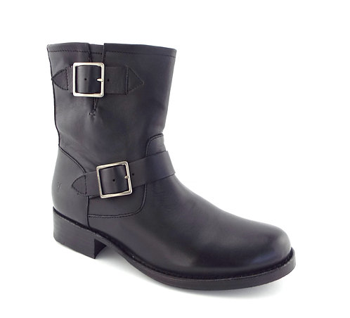 Frye Black Double Buckle Strap Engineer Boots 9