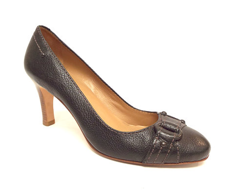 BANANA REPUBLIC Black Leather Buckle Wrap Toe Pump 7.5