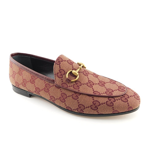 GUCCI Size 7.5 JORDAAN GG Signature Canvas Loafers Flats Shoes 37.5 Eur