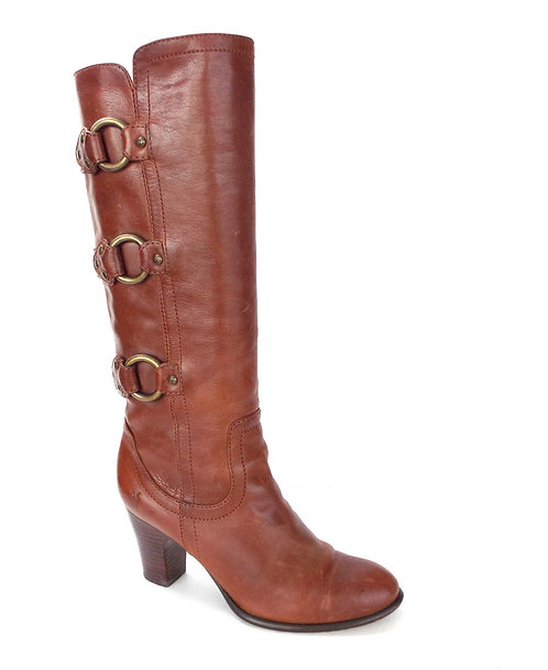FRYE Brown Leather Buckle Strap Tall Boots 6