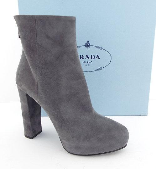 PRADA Buff Gray Platform Back Zip Mid Boots 40