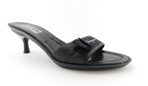 FERRAGAMO Black Leather Logo Signature Sandals 9.5