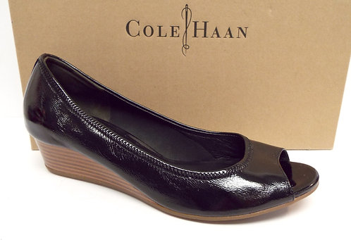 COLE HAAN Nike Air TALI Black Patent Wedge 7.5