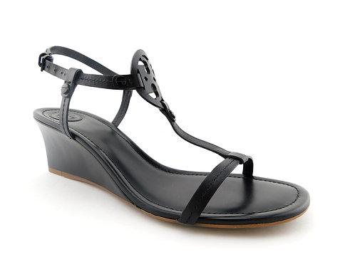 TORY BURCH Logo Black Sling Wedge Sandals 9.5