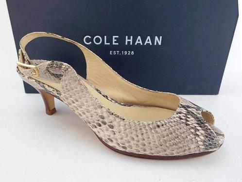 COLE HAAN Beige Snake Slingback Heel 6