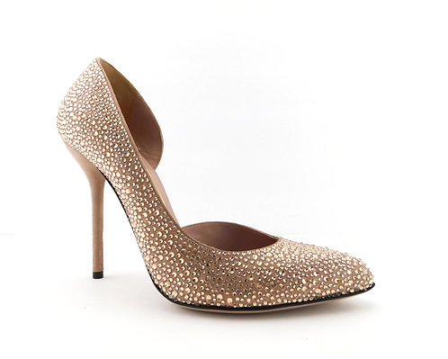 GUCCI Blush Nude Crystal Encrusted d'Orsay Pump 37