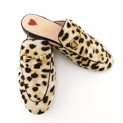 GUCCI Size 7 PRINCETOWN Leopard Mules Flats Shoes 37 Eur