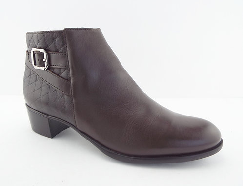 MUNRO Brown Leather Quilted Ankle Boots 10 N