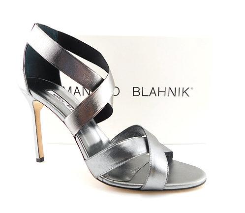 MANOLO BLAHNIK Cross Strap Heel Sandals 40.5