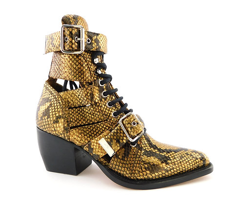 CHLOE Gold Python Cage Buckle Booties 36.5