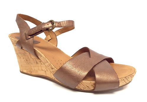 CLARKS Artisan Bronze Metallic Ankle Strap Cork Sandal 8.5