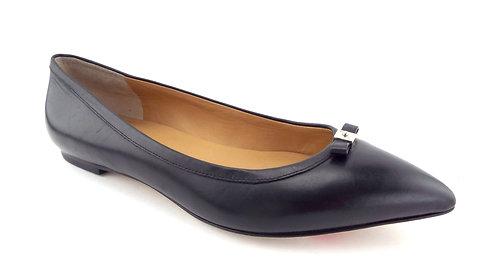 Marc Jacobs Black Mini Bow Leather Ballerina Flats