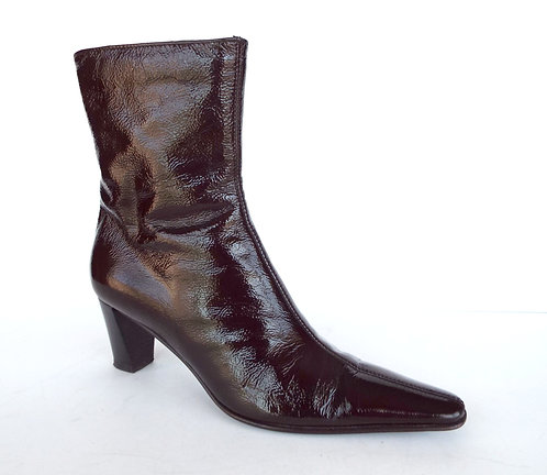 AQUATALIA Brown Crushed Patent Weatherproof Ankle Boot 7.5