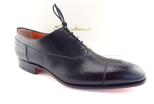 SANTONI Black Leather Cap Toe Oxfords 11.5