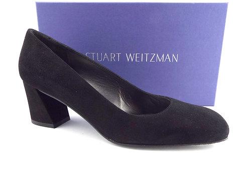 STUART WEITZMAN Black Suede Mid Heel Pump 8