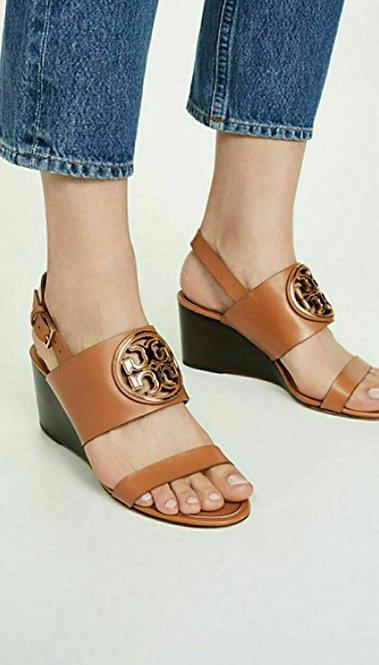 TORY BURCH Size 7.5 Metal MILLER Wedge Veg Tan Logo Sandals Shoes 7 1/2