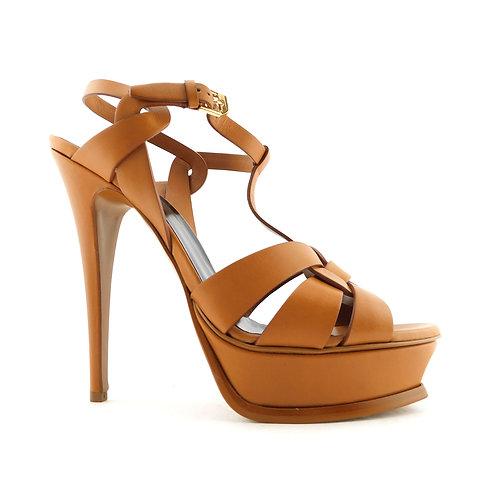 YSL Yves Saint Laurent Size 10 TRIBUTE Tan Ankle Strap Heels Pumps Shoes 41