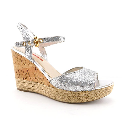 PRADA Size 8.5 Silver Coarse Glitter Ankle Strap Wedge Heels Sandal Shoes 39 Eur