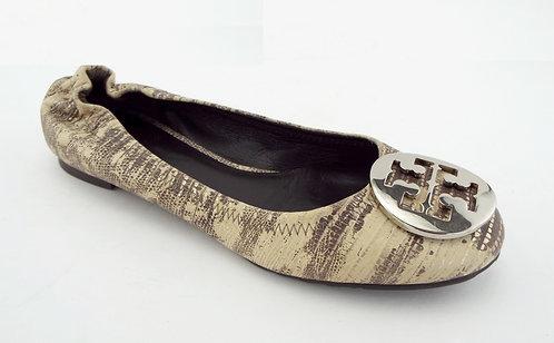 TORY BURCH Ivory Snake Silver Logo Reva Ballet Flats 6
