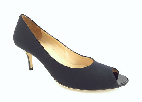 BRUNO MAGLI NOVATI Black Fabric Open Toe Pump Size 7.5 AA