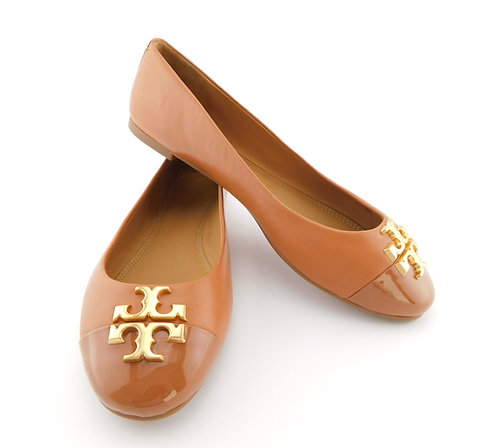 TORY BURCH Everly Logo Royal Tan Leather Ballet Flats 9