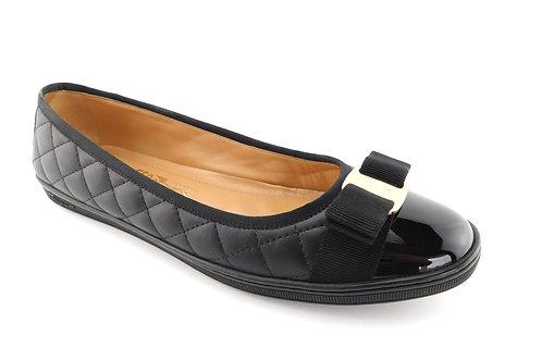 FERRAGAMO Logo Bow Black Quilted Sneaker Flats 10